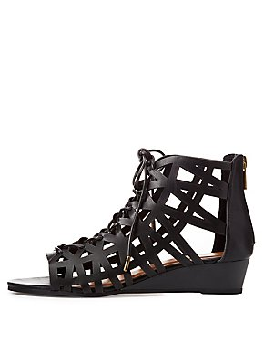 Bamboo Caged Lace-Up Gladiator Sandals