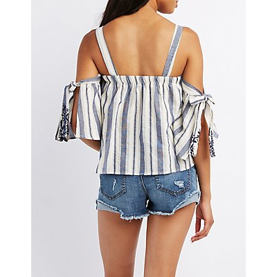 Striped Cold Shoulder Embroidered Top