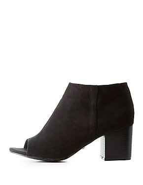 Bamboo Peep Toe Ankle Booties