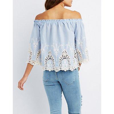 Embroidered Hem Off-The-Shoulder Top