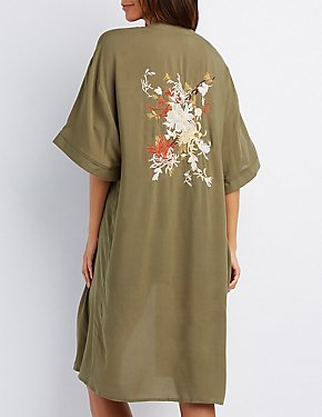 Floral Embroidered Duster Kimono