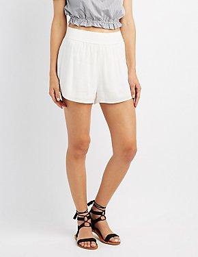 Gauze Elastic Waist Shorts