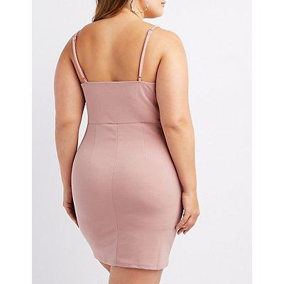 Plus Size Notched Tulip Bodycon Dress