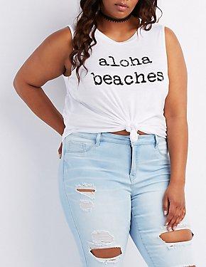 Plus Size Aloha Beaches Tank Top