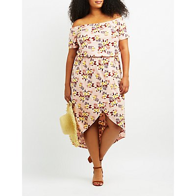 Plus Size Floral Off-The-Shoulder Tulip Dress
