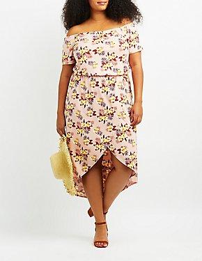 Plus Size Floral Off-The-Shoulder Tulip Dress