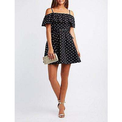 Polka Dot Ruffle Cold-Shoulder Skater Dress