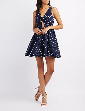 Polka Dot Cut-Out Skater Dress