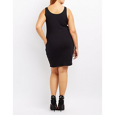 Plus Size Scoop Neck Bodycon Dress