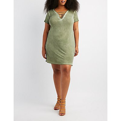 Plus Size Caged V-Neck Dress