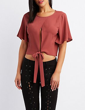 Cut-Out Tie-Front Crop Top