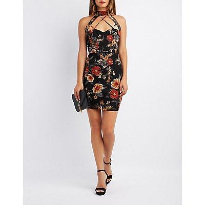 Floral Mesh Strappy Bodycon Dress