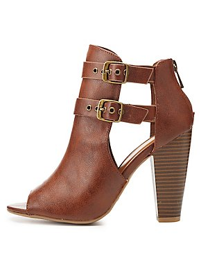 Bamboo Peep Toe Buckle Booties