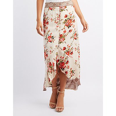 Floral Button-Up Maxi Skirt