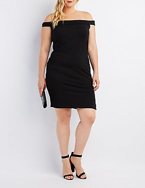 Plus Size Foldover Off-The-Shoulder Bodycon Dress