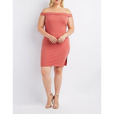 Plus Size Foldover Off-The-Shoulder Bodycon Dress
