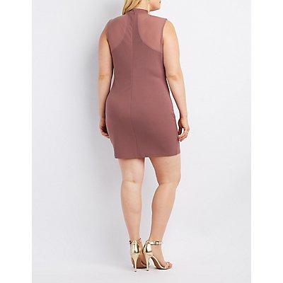 Plus Size Caged Mesh-Trim Bodycon Dress