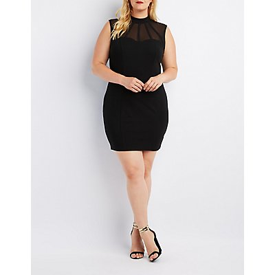 Plus Size Caged Mesh-Trim Bodycon Dress