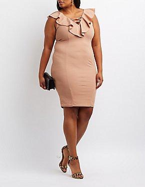 Plus Size Ruffle Lattice-Front Dress