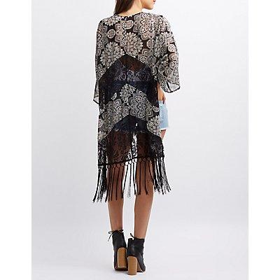 Lace-Inset Fringe Hem Kimono