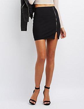 Zip-Up Bodycon Mini Skirt