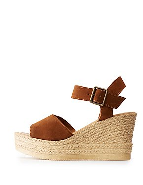 Bamboo Two-Piece Espadrille Wedge Sandals