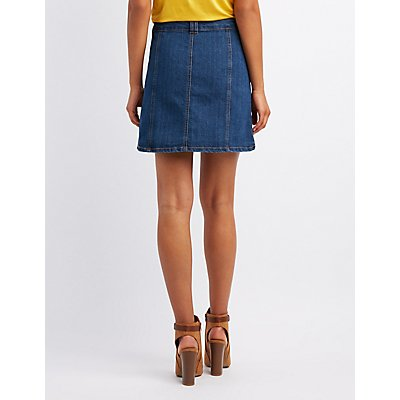 Denim Button-Up Skirt