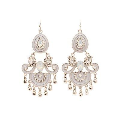 Embellished Enamel Chandelier Earrings