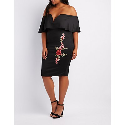 Plus Size Floral Embroidered Off-The-Shoulder Dress