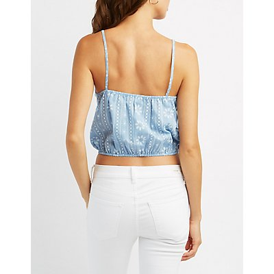 Embroidered Lace-Up Crop Top