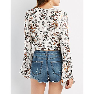 Floral Trumpet Sleeve Crop Top