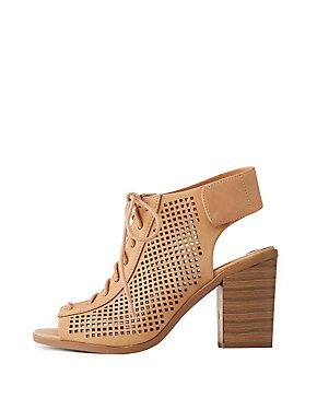 Laser Cut Lace-Up Slingback Booties