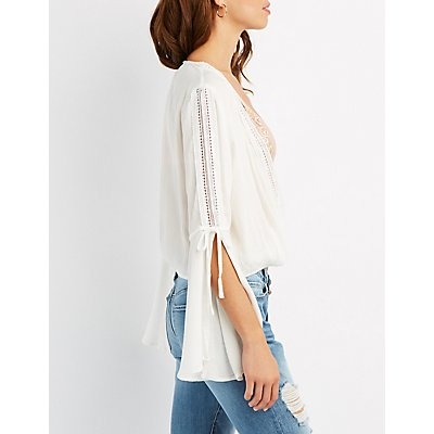 Crochet-Trim Bell Sleeve Surplice Top