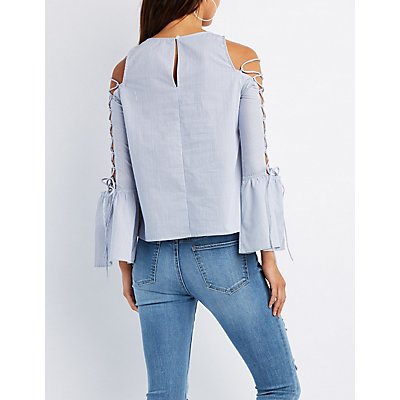 Striped & Embroidered Lace-Up Bell Sleeve Top