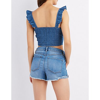 Ruffle-Trim Button-Up Chambray Crop Top