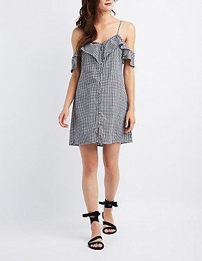 Gingham Cold Shoulder Button-Up Dress
