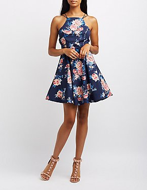 Strappy Bib Neck Skater Dress