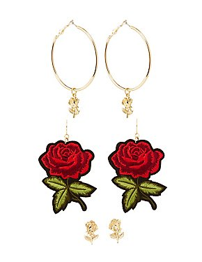 Rose Statement Earrings - 3 Pack