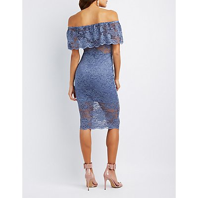 Lace Off-The-Shoulder Midi Dress