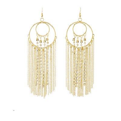 Embellished Fringe Drop Earrings