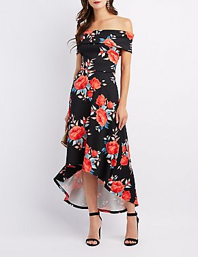Floral Off-The-Shoulder High-Low Maxi Dress
