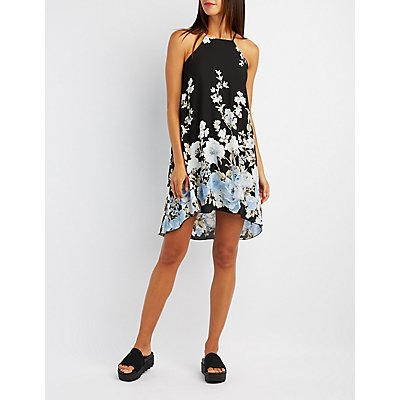 Floral Bib Neck Shift Dress