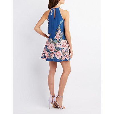 Floral Bib Neck Keyhole Dress
