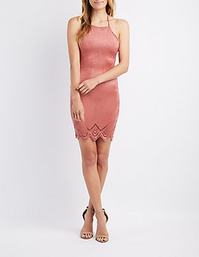 Faux Suede Bib Neck Bodycon Dress