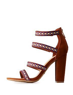 Bamboo Embroidered Caged Sandals