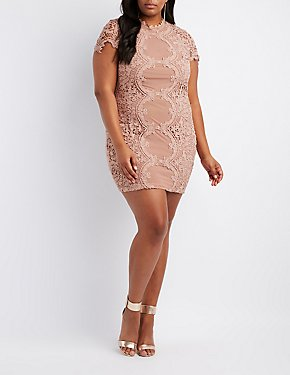 Plus Size Crochet & Mesh Bodycon Dress