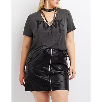 Plus Size Spiked Choker Neck Punk Tee