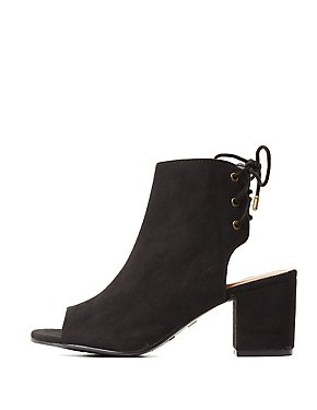 Bamboo Tie-Back Peep Toe Booties