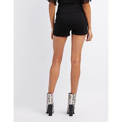Corset-Detail Ponte Shorts