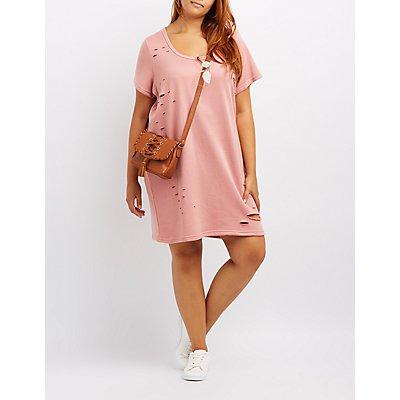 Plus Size Destroyed T-Shirt Dress